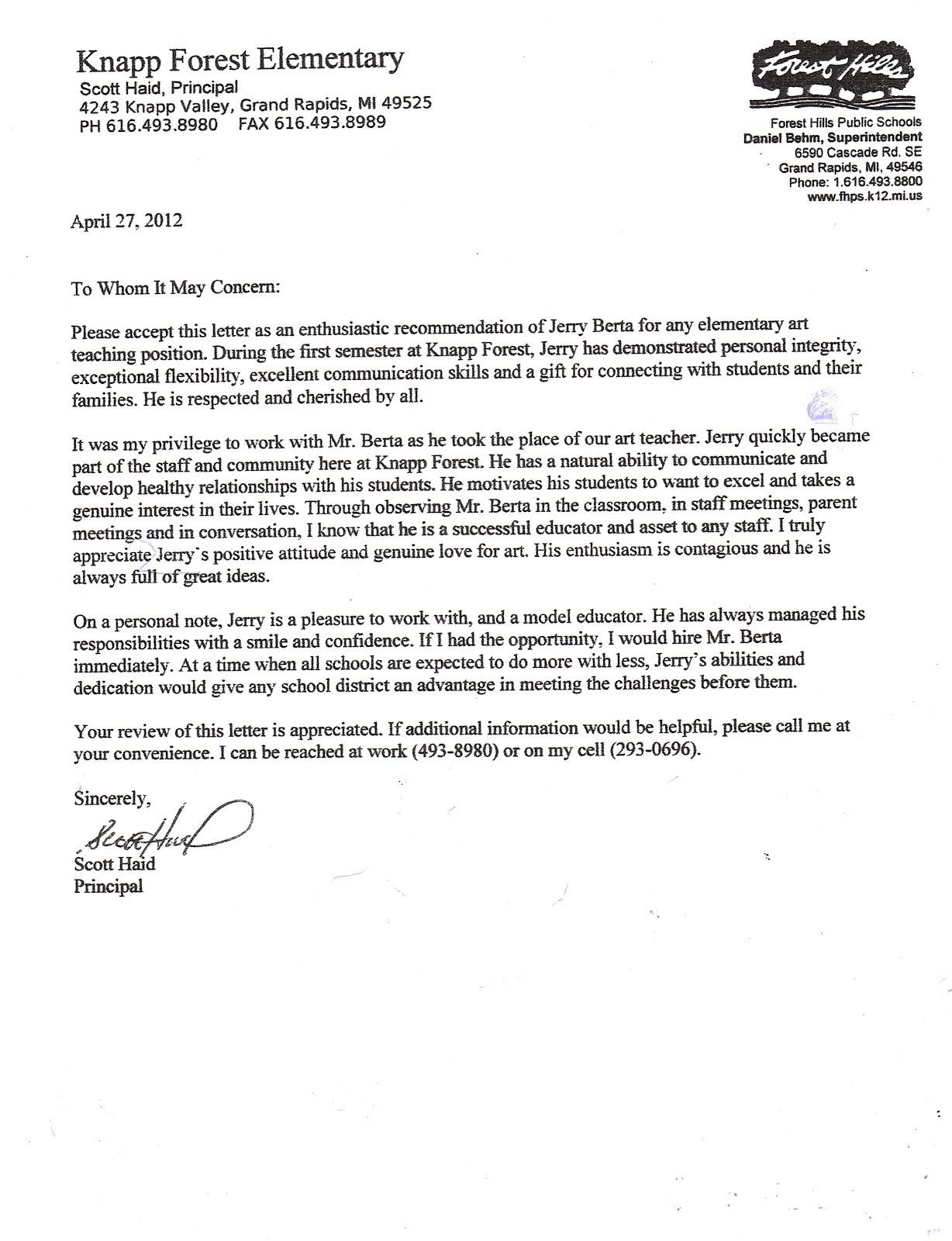 recommendation letter art teacher  Six Letters of Recommendation   Mr