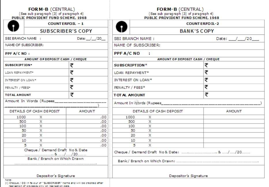 ppf deposit form state bank of india  State Bank Of India Deposit Slip Download - 2019 2020 MBA - ppf deposit form state bank of india