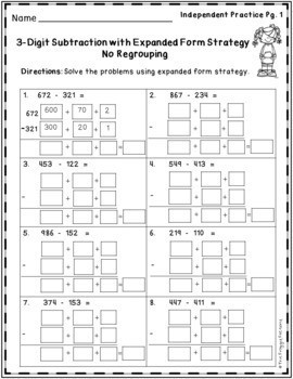 expanded form subtraction worksheets  Subtraction Strategies Worksheets Expanded Form Method ..