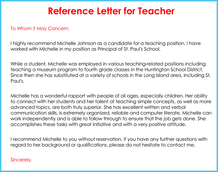 recommendation letter for teacher candidate  Teacher Recommendation Letter ( 20+ Samples / Fromats ..