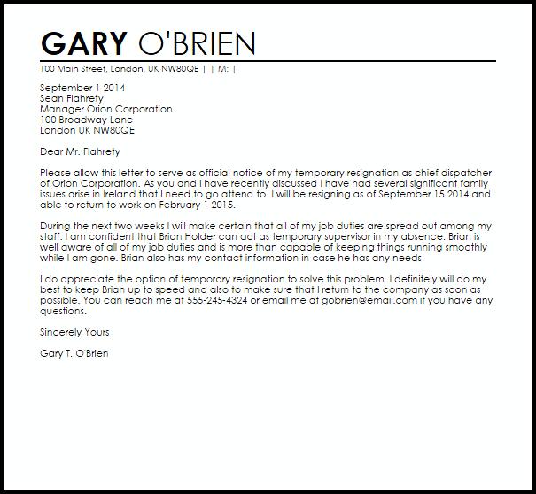 resignation letter template ireland  Temporary Resignation Letter Example | Letter Samples ..