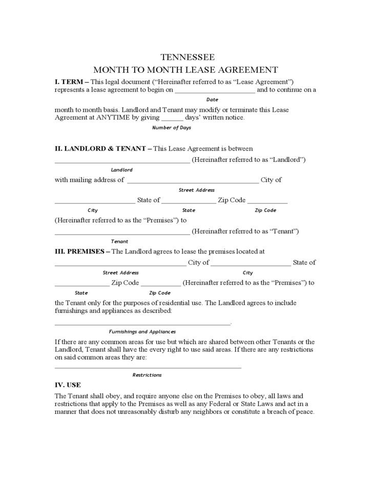 free tennessee rental agreement form  Tennessee Month to Month Lease Agreement Form Free Download - free tennessee rental agreement form