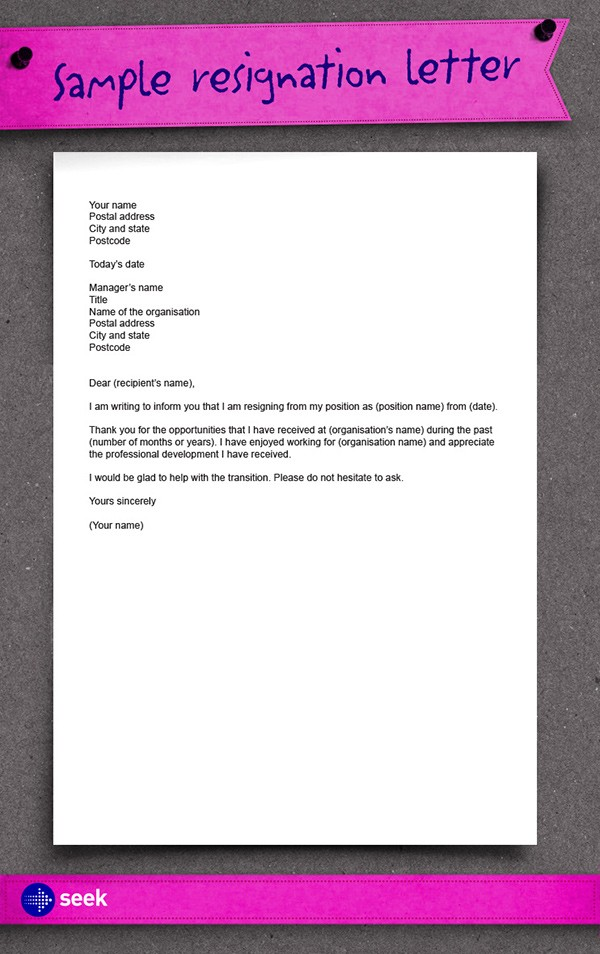 basic resignation letter template nz  The importance of resigning on good terms - how to write a ..