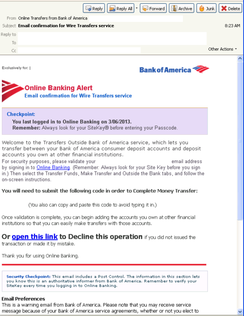 bank of america bank address for wire  ThreatTrack Security - Malicious Spam Alerts, Bank of ..