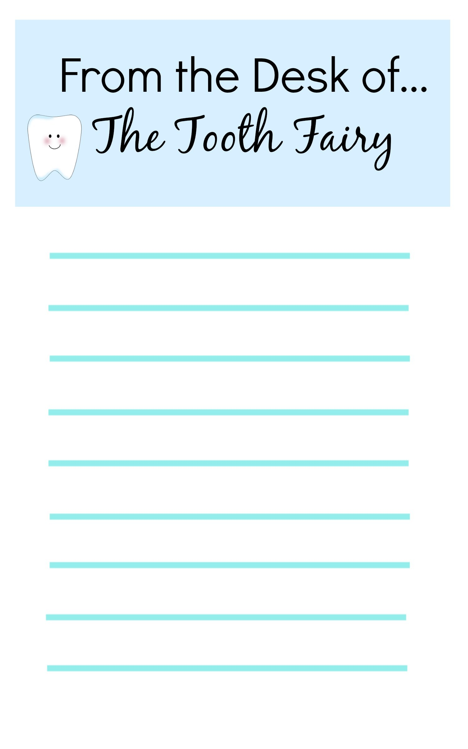 blank tooth fairy letter template  Tooth Fairy Ideas And Free Printables: Tooth Fairy ..