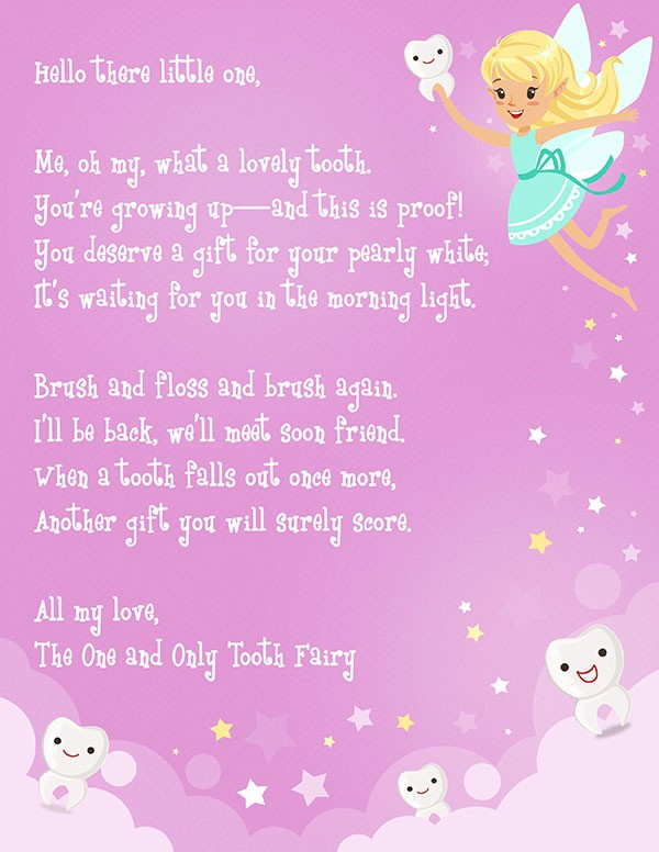 tooth fairy letter template girl free  Tooth Fairy Letter Free Printable | Elfster - tooth fairy letter template girl free