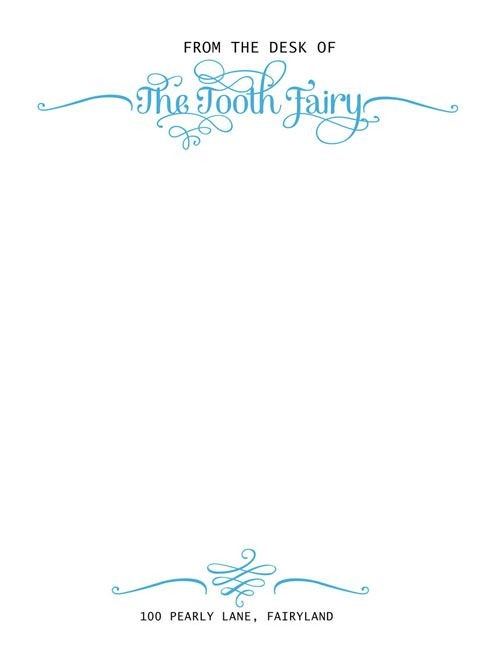 tooth fairy letter template editable  Tooth Fairy Official Letterhead - designed by Sassy ..