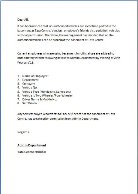 resignation letter template ireland  Unauthorized Parking Letter Format in Word Sample Template ..