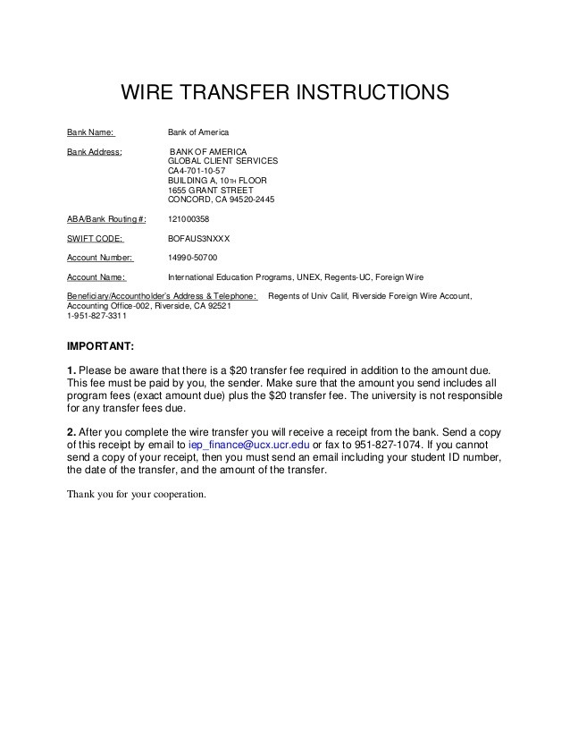 bank of america bank address for wire  University of california, riverside Wire transfer b of a - bank of america bank address for wire