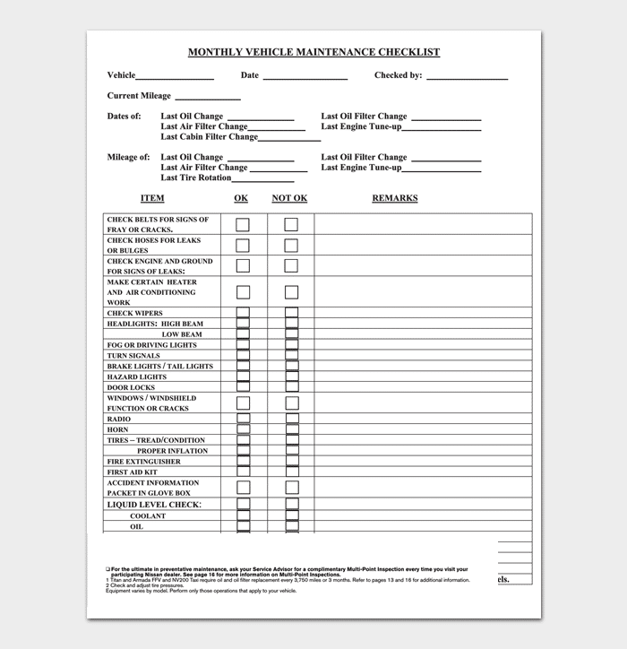 vehicle service checklist template  Vehicle Maintenance Schedule Template - 10+ (For Word ..