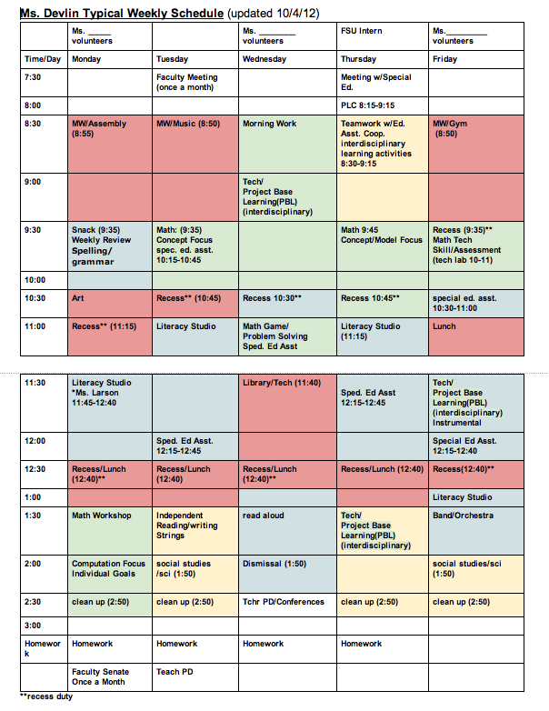 class schedule template for teachers  Weekly Pattern: A Typical Schedule   Teach Children Well - class schedule template for teachers