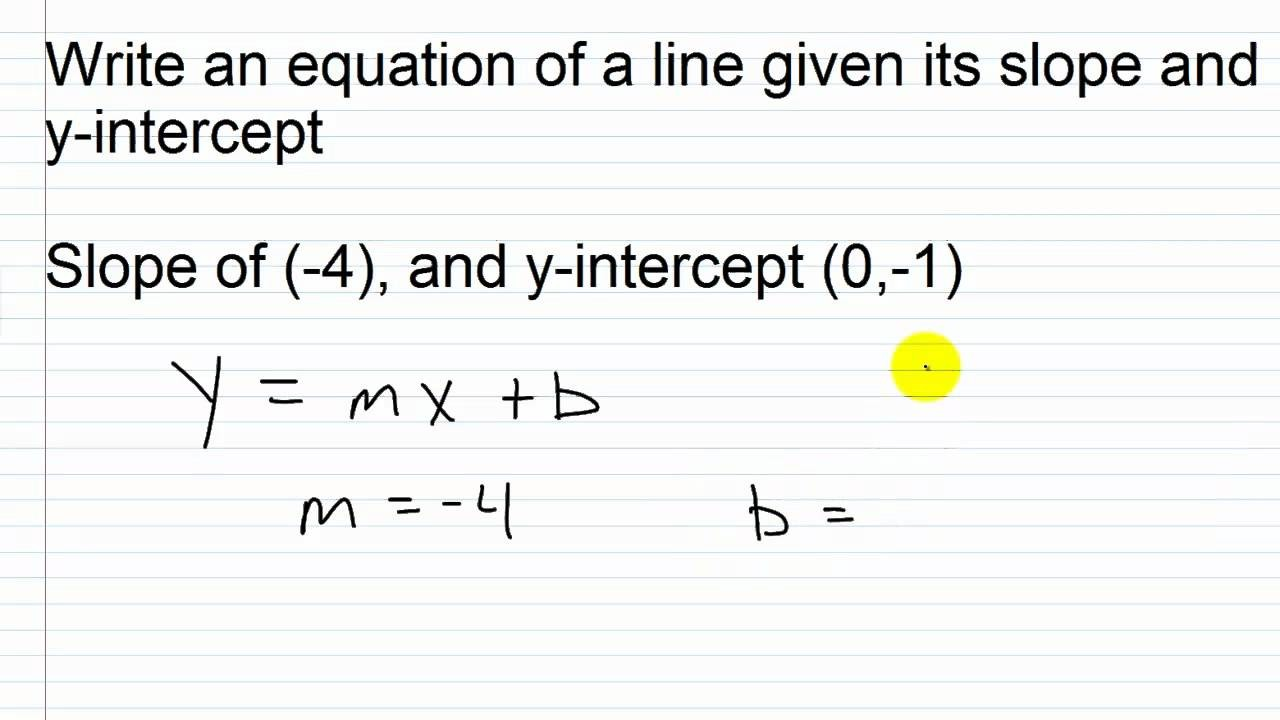 y intercept formula from two points  Write an Equation of a Line Given its Slope and Y ..