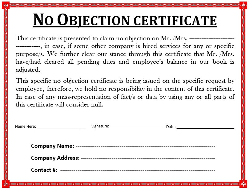 no objection certificate for employee to join another department  10 Free Sample No Objection Certificate Templates ..