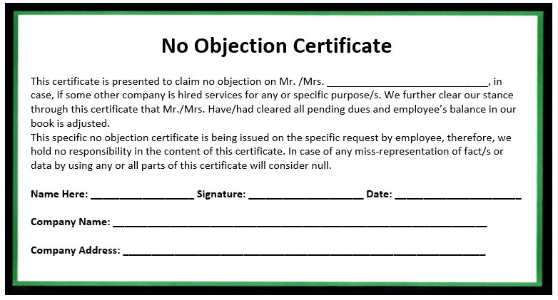 no objection certificate from employee to employer  10 Free Sample No Objection Certificate Templates ..