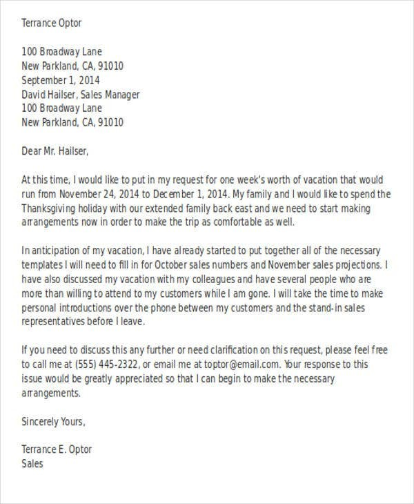 sample request letter for vacation leave  16+ Vacation Letter Templates - PDF, DOC   Free & Premium ..