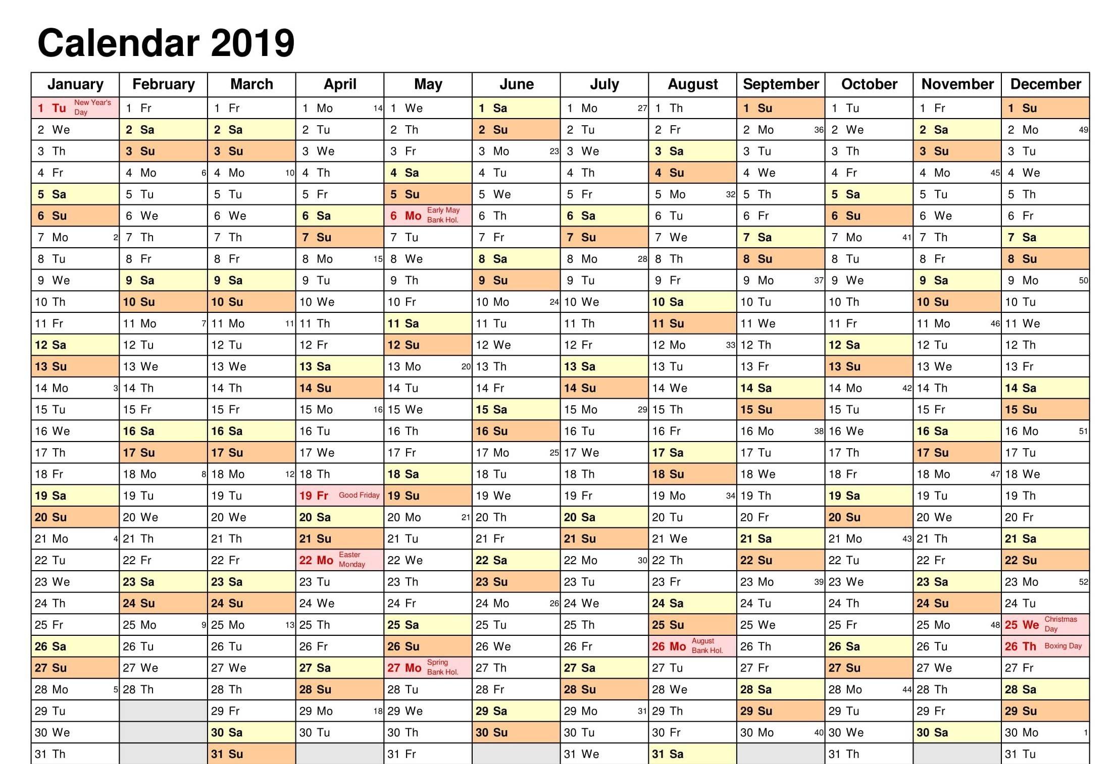 schedule template editable  2019 Editable Calendar Excel | Free Printable Planner ..