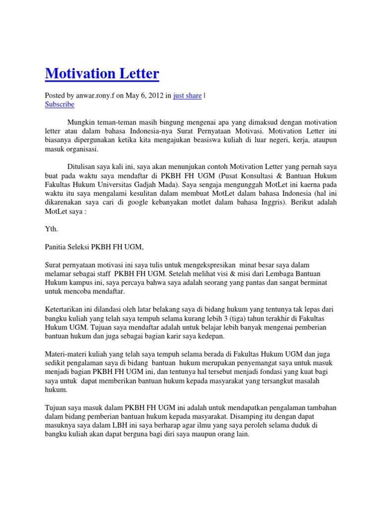 motivation letter to join an organization  3+ Free Sample of Motivation Letter For Organization ..