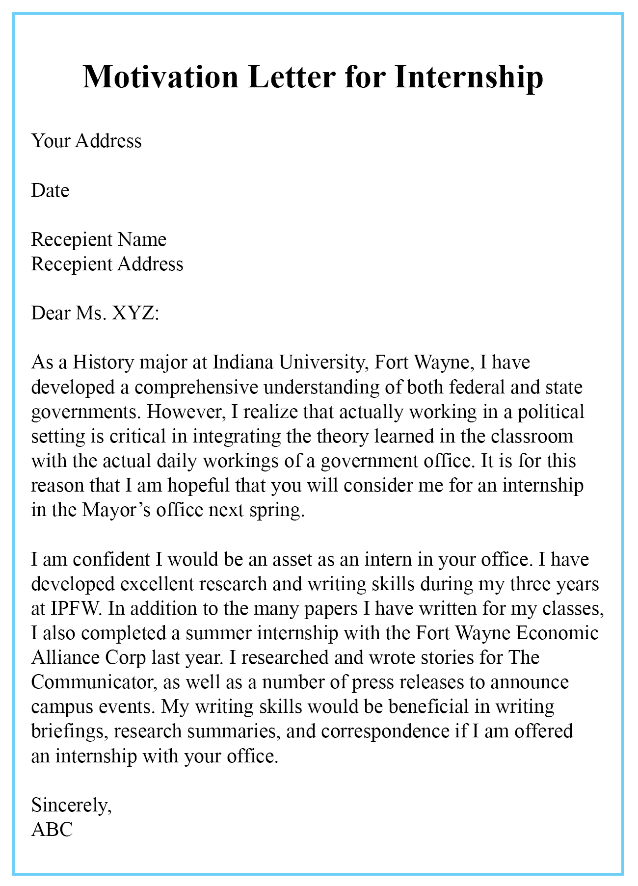 motivation letter for research internship  4+ Free Sample Motivation Letter for Internship Templates😄 - motivation letter for research internship