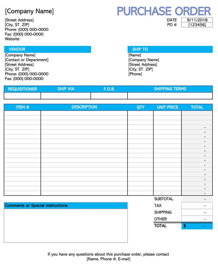 p o order format  40+ Free Purchase Order Templates | Forms | Samples (Excel ..