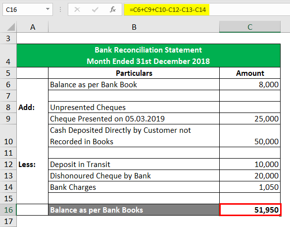 bank statement reconciliation excel  Bank Reconciliation Formula   Examples with Excel Template - bank statement reconciliation excel