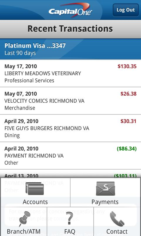 bank statement capital one  Capital One Releases Android App For Mobile Banking - bank statement capital one