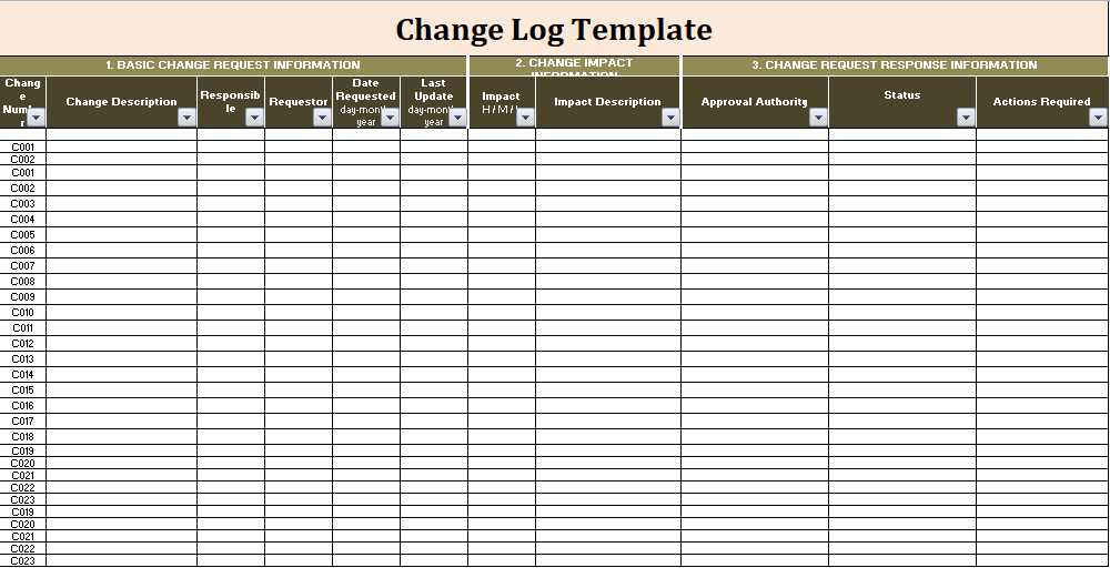 firewall change request template excel  Change Log Templates | 9+ Free Word, Excel & PDF Formats - firewall change request template excel