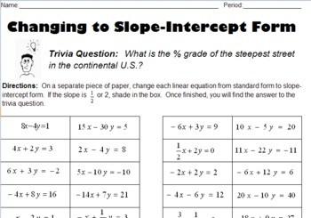 point intercept form worksheet  Converting Standard Form to Slope-Intercept Form by K ..