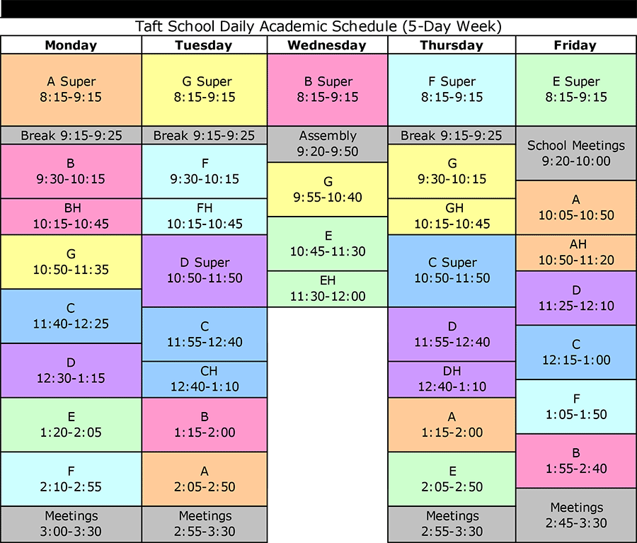 daily routine schedule template  Daily Schedule - Taft School - daily routine schedule template