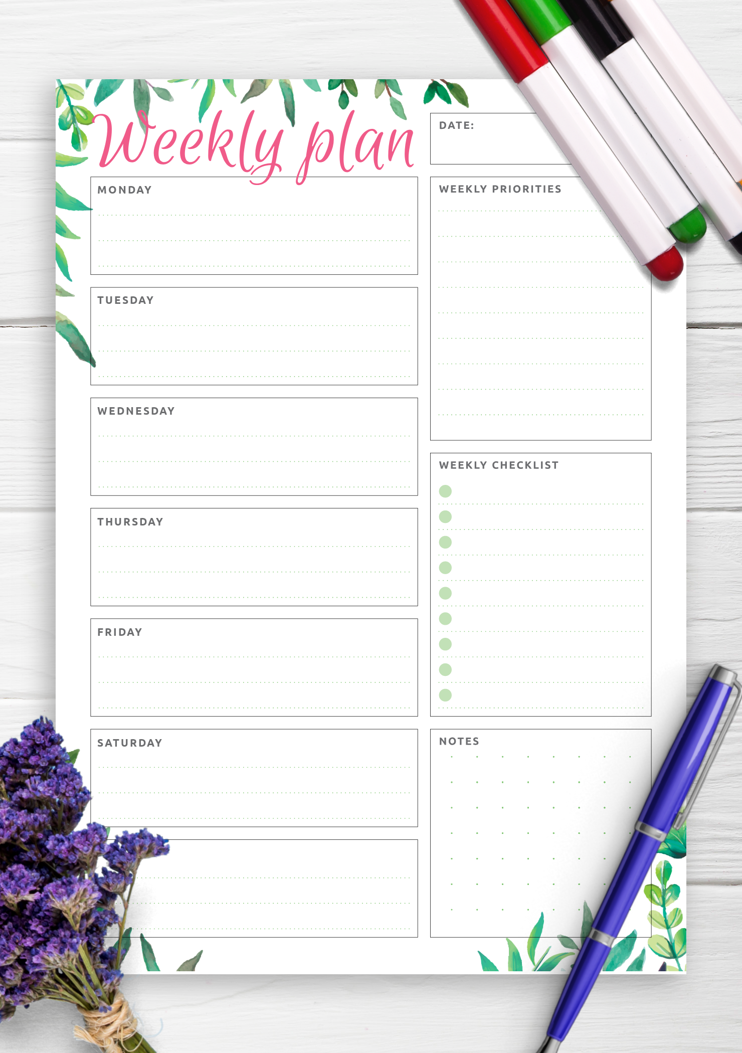 schedule template cute daily  Download Printable Weekly Plan & Checklist PDF - schedule template cute daily