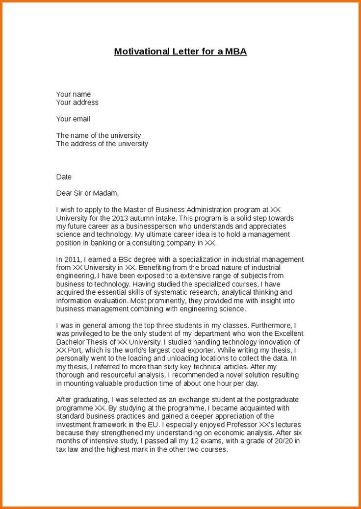 motivation letter university example bachelor  evs motivation letter sample motivational for mba ..