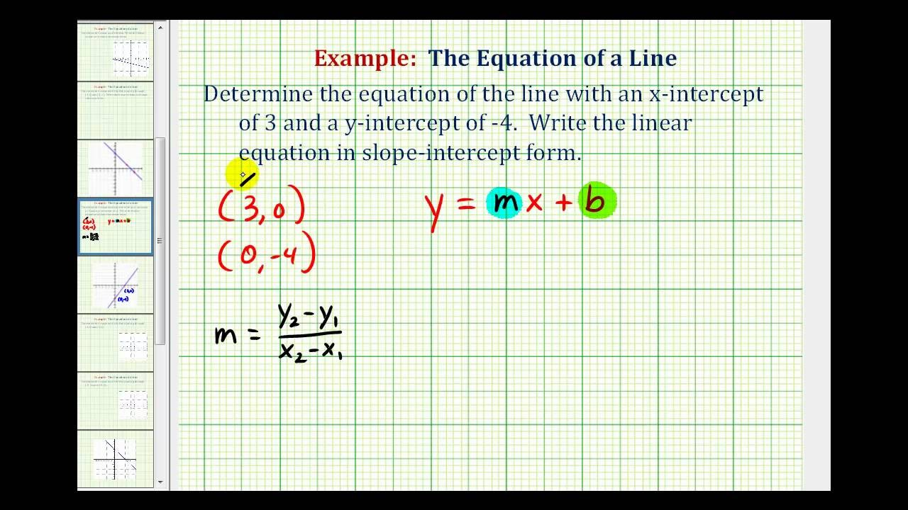 point slope intercept form of a linear equation  Ex: Find the Equation of a Line in Slope Intercept Form ..