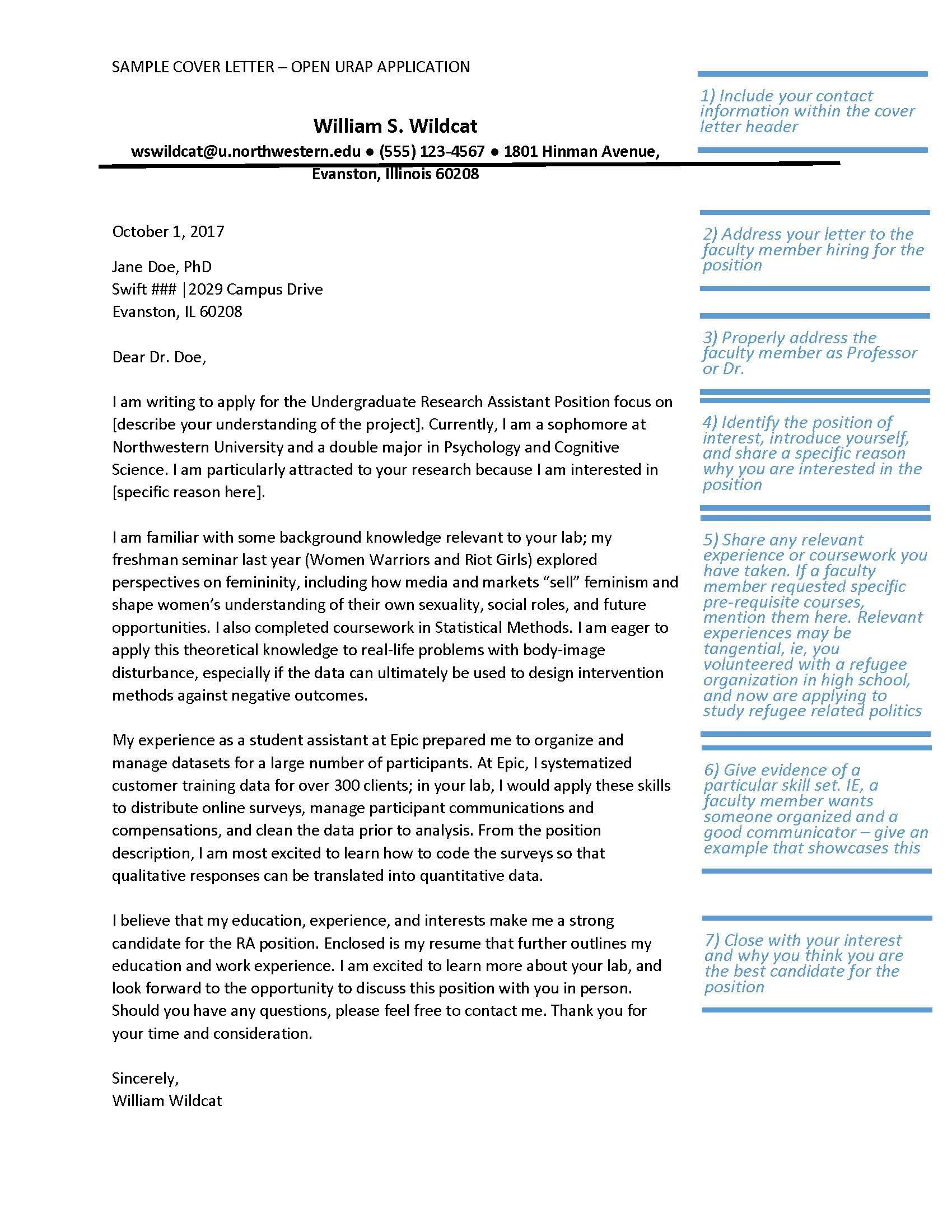 motivation letter for phd  Example Cover Letter for Open URAP Position   Office of ..