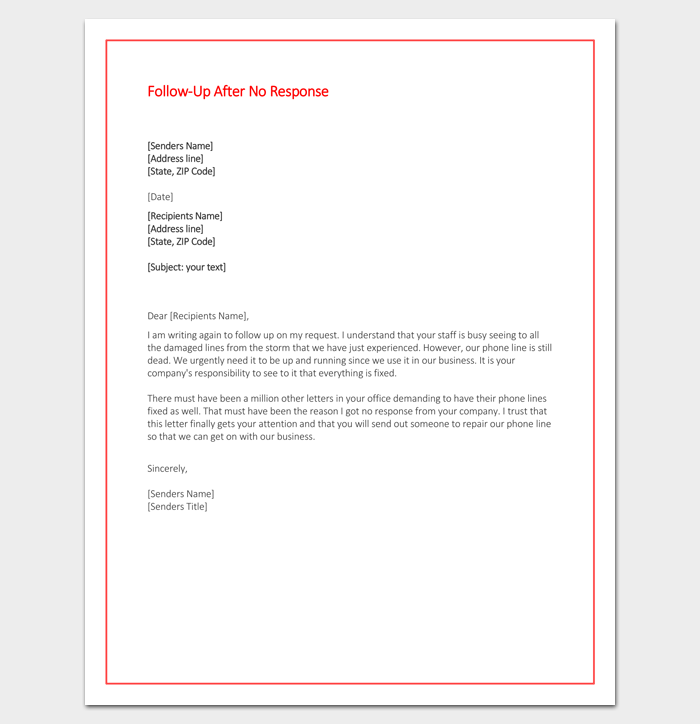 sample request letter for quick response  Follow Up Letter Template - 10+ Formats, Samples & Examples - sample request letter for quick response