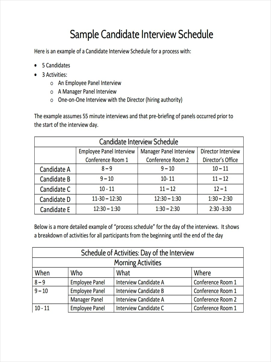excel job schedule template  FREE 17+ Interview Schedule Examples & Samples in PDF ..