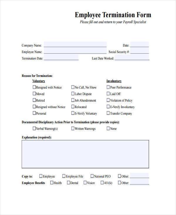 letter of termination template ontario  FREE 34+ Free Employment Form Samples in PDF | WORD - letter of termination template ontario