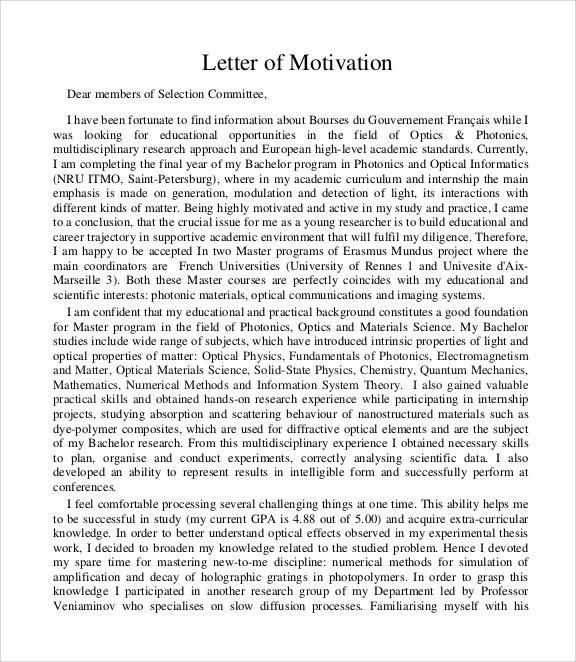 motivation letter harvard university  FREE 4+ Sample Motivation Letter Templates in PDF | MS ..