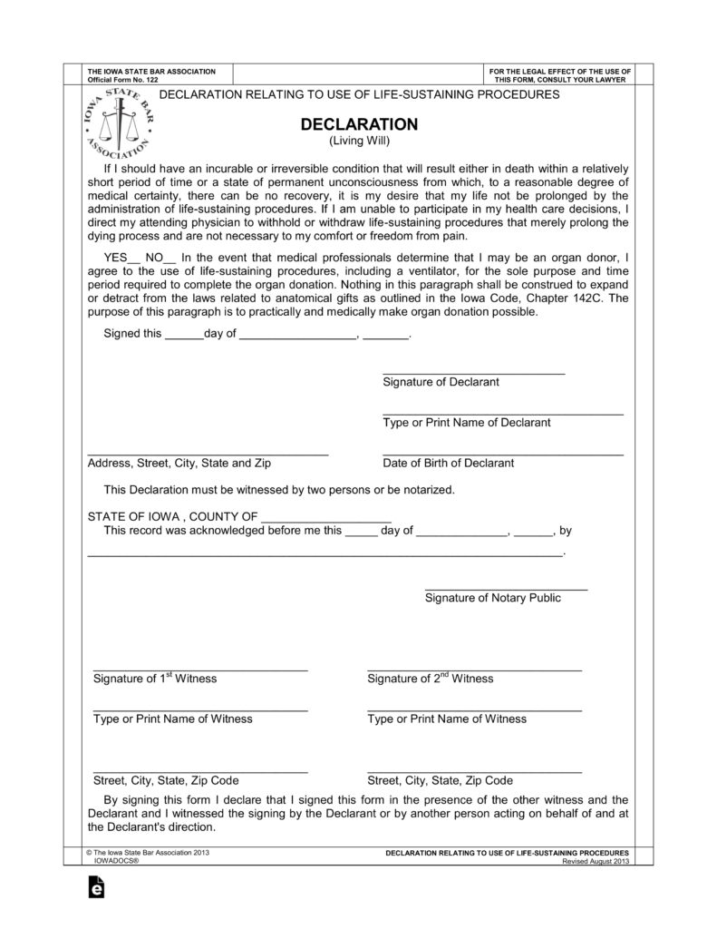 free living will form iowa  Free Iowa Living Will Declaration - PDF | eForms – Free ..