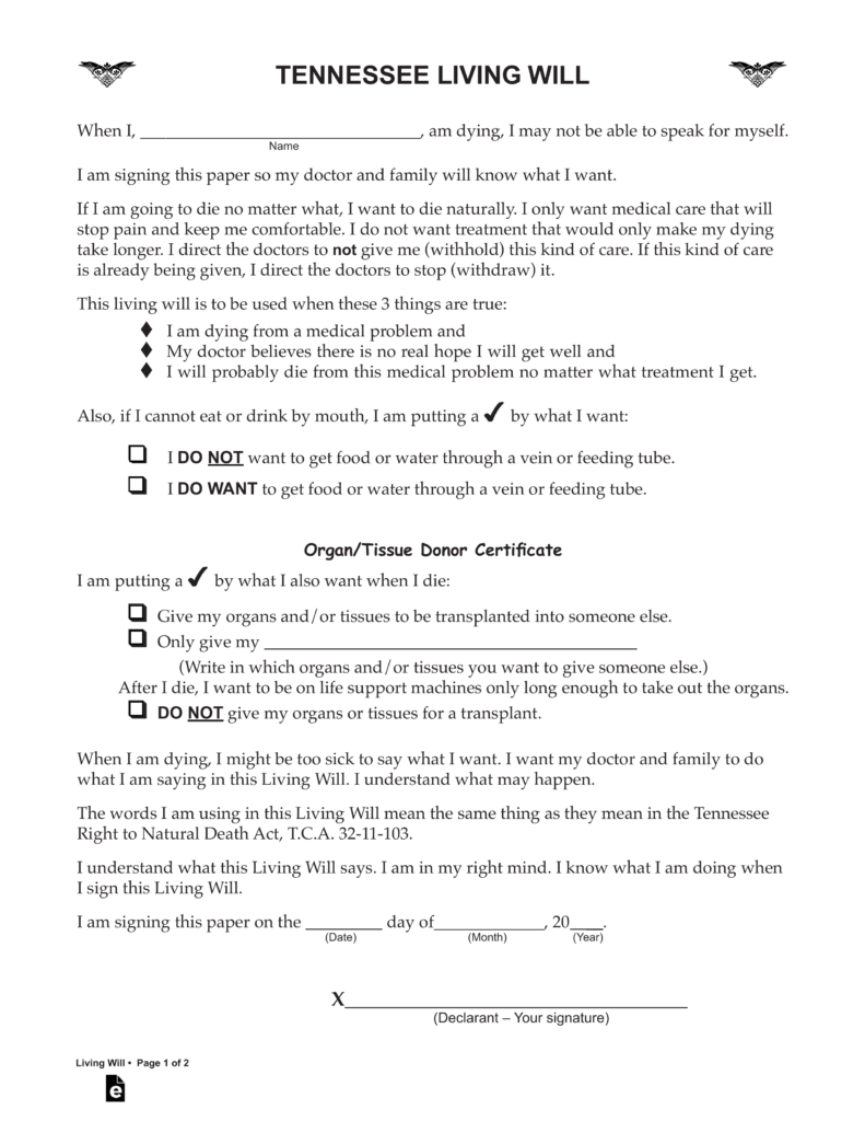 free printable living will form tennessee  Free Tennessee Living Will Declaration Form - PDF | eForms ..