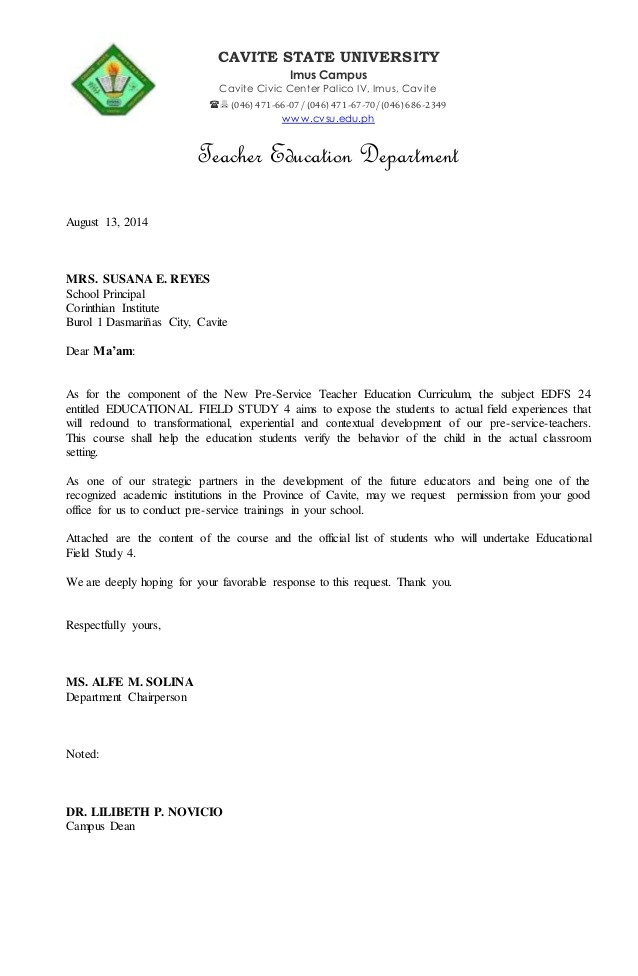 request letter sample for permission in school  Fs4 letter - request letter sample for permission in school