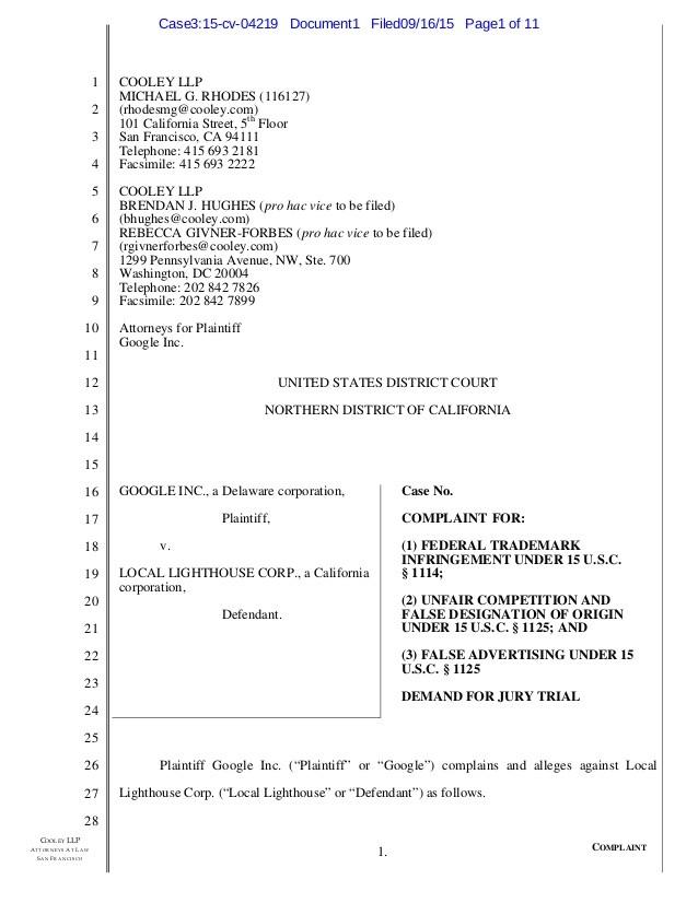 letter template demand letter for robocalls  Google Robocalls Lawsuit Against Local Lighthouse Corp - letter template demand letter for robocalls