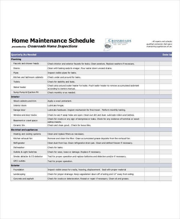 yearly maintenance schedule template  Home Maintenance Schedule Template - 7+ Free PDF, Word ..