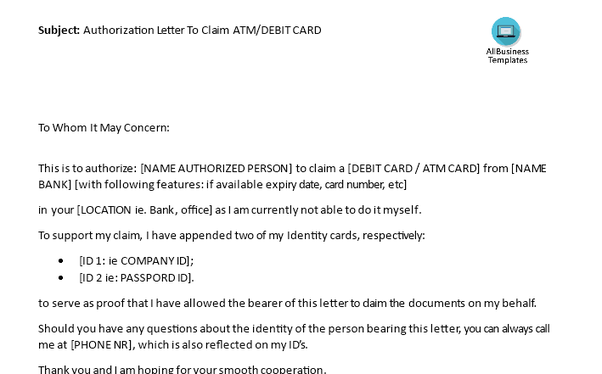 sample request letter for fuel card  How to write an authorization letter to claim an ATM card ..