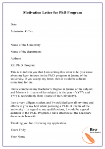 motivation letter example university admission  How to Write Motivation Letter for PhD – PDF, WORD [Doc