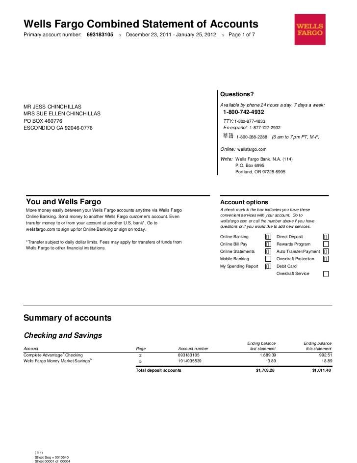 bank statement wells fargo template  Jan 2012 - bank statement wells fargo template