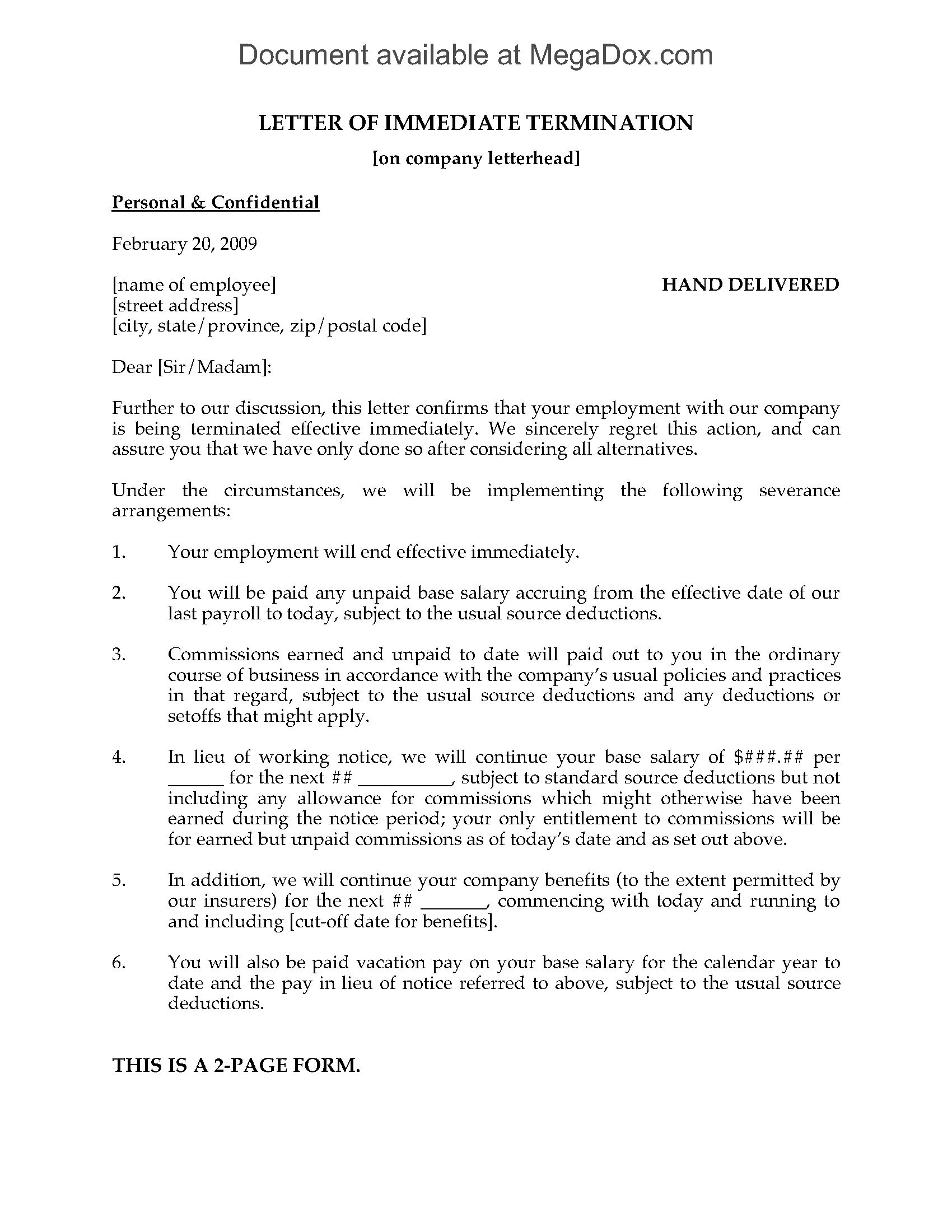 letter of termination template ontario  Letter of Immediate Termination of Employment | Legal ..