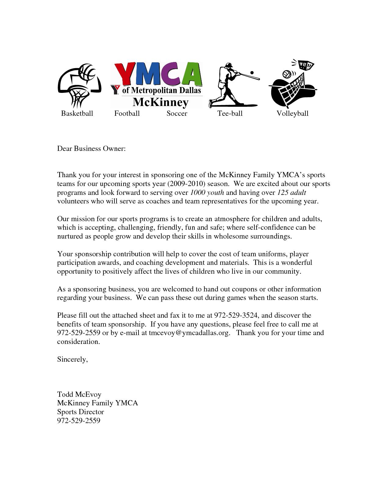 sample sponsorship request letter for youth sports team  letters for sports teams youth sponsorship letter team ..