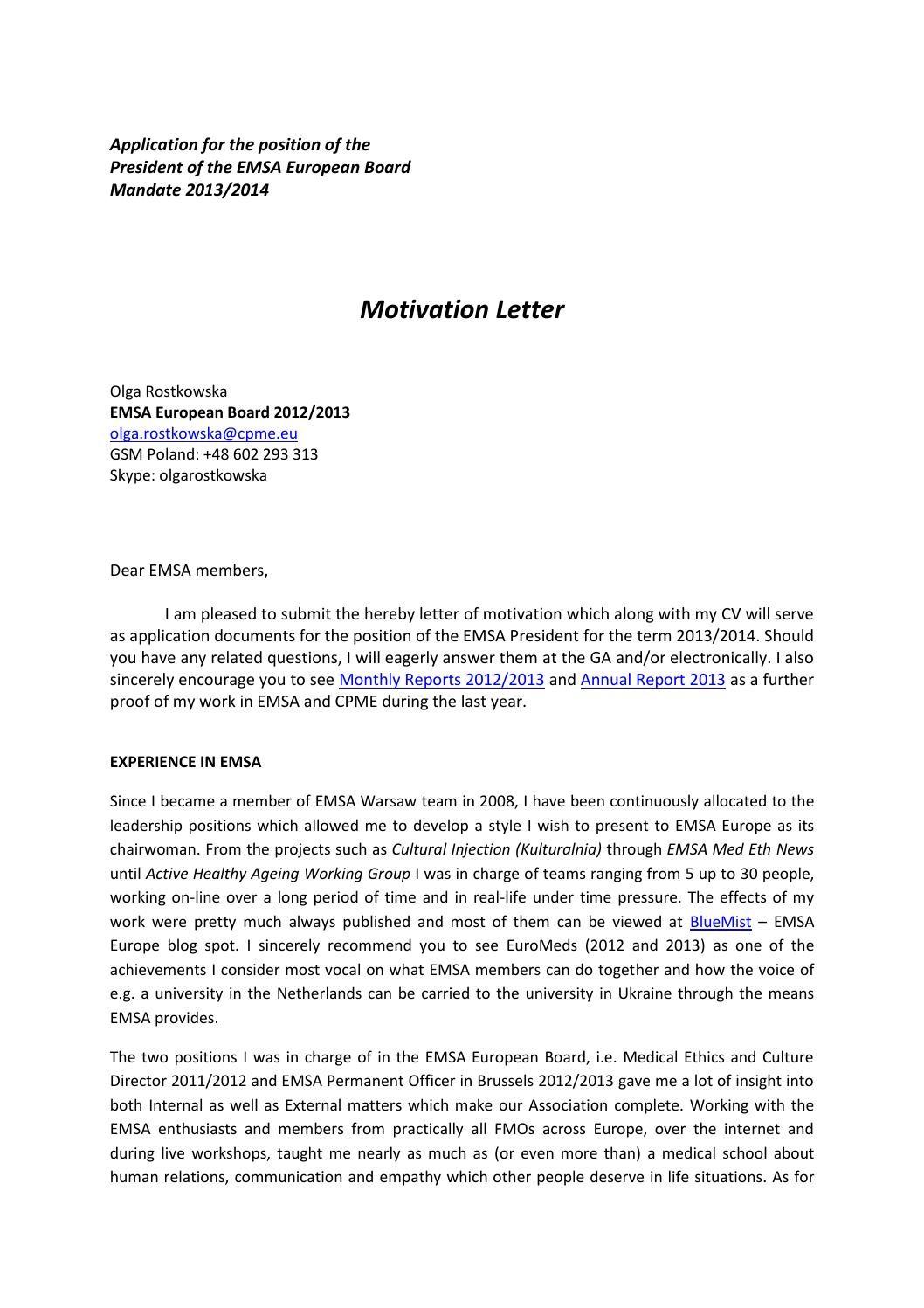 motivation letter for research internship  Motivation letter for internship. How to Write Essay or ..