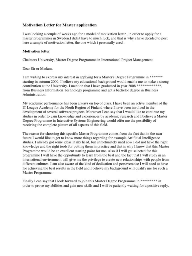 motivation letter sample for masters  Motivation Letter for Master Application | Academic Degree - motivation letter sample for masters