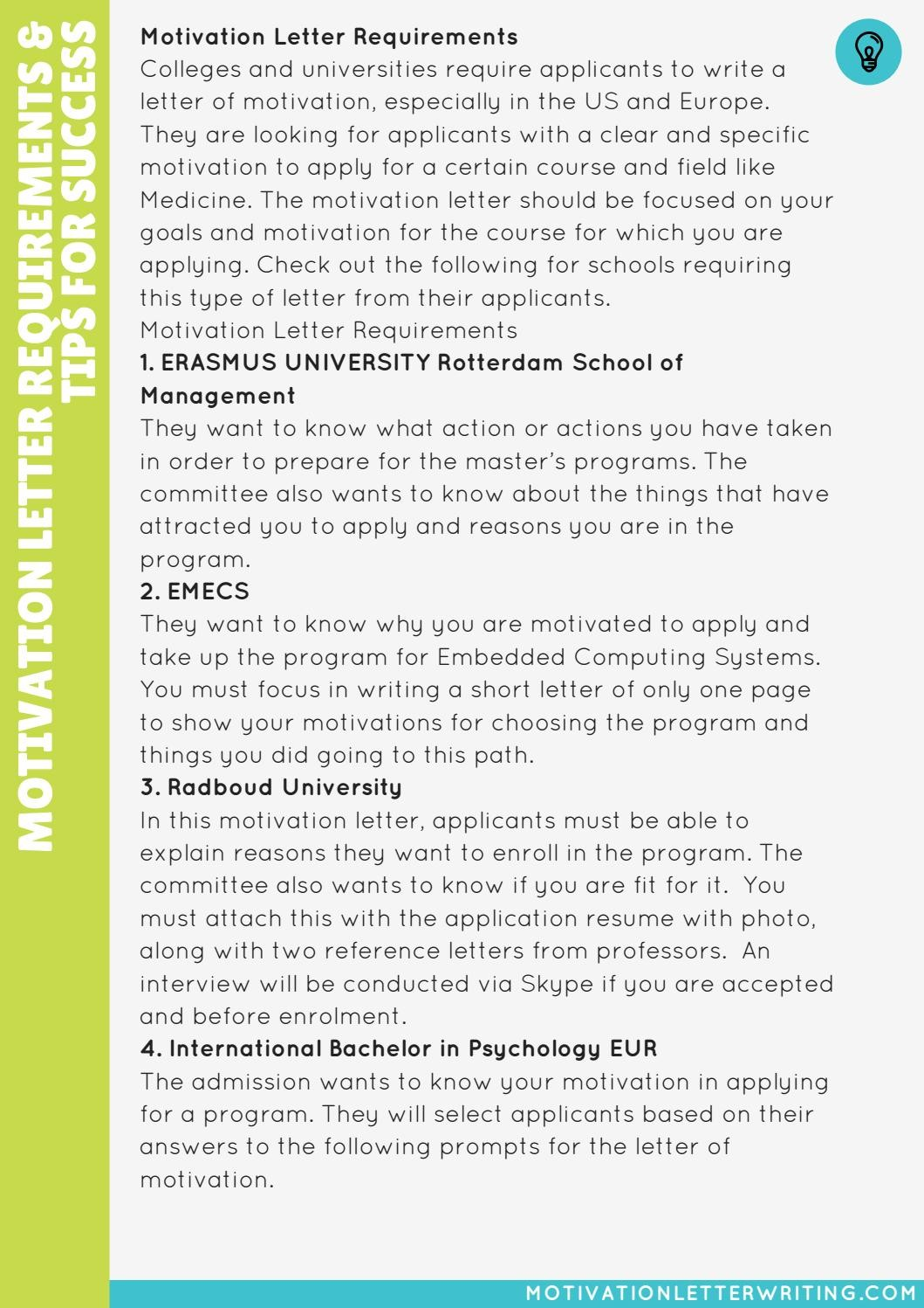 motivation letter university  Motivation Letter for University Requirements And Tips for ..
