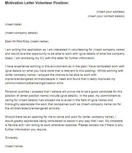 motivation letter for volunteering example  Motivation Letter Volunteer Position Example | Just Letter ..